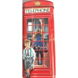 GRB Souvenir (AU), beautiful miniature of the traditional conserved London telephone booth, red, brand. Girl inside cabin under a suitcase, boy embossed at the door, a dog in the background.