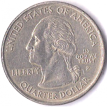 USA Moeda, 2001, (S/FC), Quarter Dollar, North Carolina 1789, Wisdon Justice Moderation, Liberty In God We Trust (P), E Plurieus Unum, Presidente Thomas Jefferson.