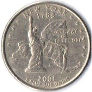 "USA Moeda, 2001, (AU), Quarter Dollar, (1/4 Dollar = 25Cents), New York (1788), Gateway to Freedom. Busto: George Washington), Letra ""P""."