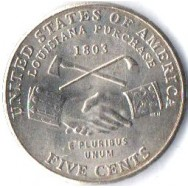 USA Moeda, 2004, (AU), Five cents, Louisiana Furchase (1803), Busto: Presidente Thomas Jefferson.