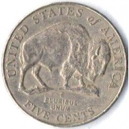 "USA Moeda, 2005, (VF), Five cents, Bicentenary of Lewis and Clark Expedition. Bison, Busto: Presidente Thomas Jefferson, Letra: ""E""."