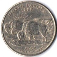 "USA Moeda, 2006, (AU), Quarter Dollar, (1/4 Dollar = 25Cents), North Dakota, (1889), Búfalos, Busto: George Washington. Letra ""P""."