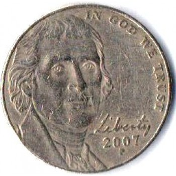 "USA Moeda, 2007, (VF), Five cents, Montecristo, Busto: Presidente Thomas Jefferson, Letra ""P""."