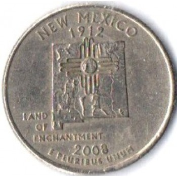 "USA Moeda, 2008, (VF), Quarter Dollar, (1/4 Dollar = 25Cents), Land of Enchantment, México (1912), Busto: George Washington, Letra ""P""."