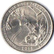 "USA Moeda, 2015, (AU), Quarter Dollar, (1/4 Dollar = 25Cents), Blue Rioge Parkway, North Carolina. Busto: George Washington, Letra ""P""."