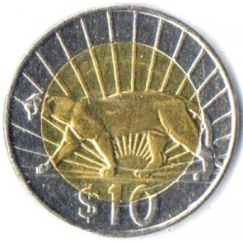 "URU Moeda, 2014, 10 Pesos, (UNC), Bi-metalica, Reveso: (Core & ring), A puma (left, Puma concolor) in front of rising sun with 19 rays above exergue. Anveso: (Core & ring), Escudo de armas, legenda na borda ""República Oriental Del Uruguay""."
