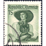 AUS Selo, Definitivo/Regular, 1951, (N), Yt:AT 801, National Costumes, Tyrol, Pustertal.
