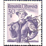 AUS Selo, Definitivo/Regular, 1958, (N), Yt:AT 886, National Costumes, Salzburg, Pongau.