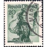 AUS Selo, Definitivo/Regular, 1958, (N), Yt:AT 884, National Costumes, Vorarlberg, Montafon.