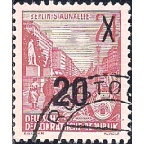 Alemanha (RDA) Selo, 1953, (N), Definitives - Five-Year Plan Typography Printing Stamps Surcharged - Glossy Letterpress Overprint.