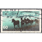GER (BRD) Selo, 1987, (N), Yt:DE 1160, Protection of Nature, Dülmen Ponys in the Nature Reserve Merfelder Bruch.