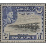 BAW (Paquistão) Selo, 1949, (U), Yt:PK-BH 18, The 25th Anniversary of the Reign of Sadeq Mohammad Khan V (Panjnad Dam).