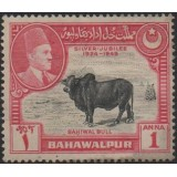 BAW (Paquistão) Selo, 1949, (U), The 25th Anniversary of the Reign of Sadeq Mohammad Khan V, Zebu (Bos taurus indicus).