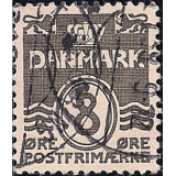 DIN Selo 1933, (N), Yt:DK 212, Wavy Lines - Steel Engraving. 1 White Field on Left Lion's Top Paw, Figure 'wave'- type.