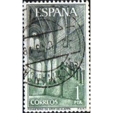 ESP Selo, 1964, (N), Yt:ES 1215, Monastery of Santa Maria de Huerta, Great Hall (shades of green).