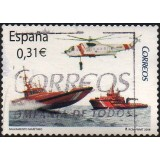 ESP Selo, 2008, (N), Yt:ES 4009, Tug, Speed Boat, and Rescue Helicopter of the Sociedad de Salvamento y Seguridad Marítima.