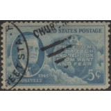 USA Selo, 1945, (U), Yt:US 485, Roosevelt, Map of Western Hemisphere and Four Freedoms.