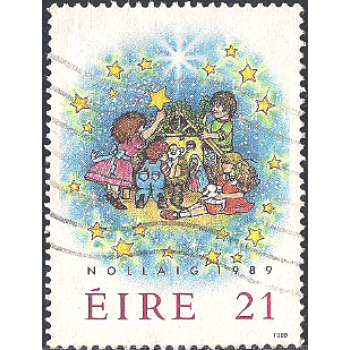 EIR Selo, 1989, (N), Yt:FI 700, Christmas Stamps, Children Decorating Crib.
