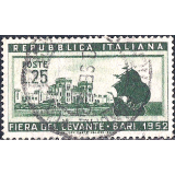 ITA Selo, 1952, (N), Yt:IT 589, The 16th Levant Fair, Bari, 1952 Caravelle and entrance of the 16th Fair.