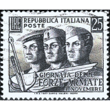 ITA Selo, 1952, (N), Yt:IT 638, Armed Forces Day, Faces of sailor, airman and soldier.
