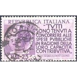 ITA Selo, 1954, (N), Yt:IT 674, Propaganda for the Payment of Taxes, Coin of Syracuse and the Italian Constitution.