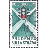 ITA Selo, 1955, (N), Yt:IT 743, Campaign for Careful Driving, Traffic light and intersection.