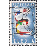 ITA Selo, 1955, (N), Yt:IT 744, EUROPA Stamps, Letter E with flags.