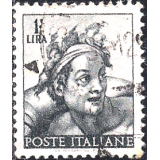 "ITA Selo, 1961 Definitivo/Regular, (U), Yt:IT 826, Designs From Sistine Chapel by Michelangelo (Head of ""naked"")."