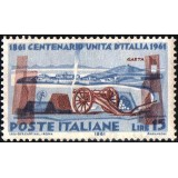 ITA Selo, 1961, Yt:IT 852, (Mint), Centenary of the unification of Italy, Cannon and the fortress of Gaeta.