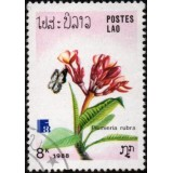 LAO Selo, 1988, (Mint). International Stamp Exhibition, Finlândia 88, Borboletas e Flores (Plumeria rubra).