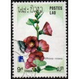 LAO Selo, 1988, (Mint). International Stamp Exhibition, Finlandia 88, Borboletas e Flores (Althaea rosea).