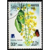LAO Selo, 1988, (Mint). International Stamp Exhibition, Finlandia 88, Borboletas e Flores (Cassia tistula).