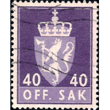 NOR Selo, 1955, (N), Yt:NO S75(A), OFF. SAK I (Animais Heráldicos).