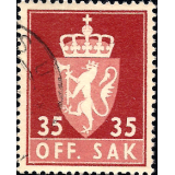 NOR Selo, 1955, (N), Yt:NO S74, OFF. SAK I (Animais Heráldicos).