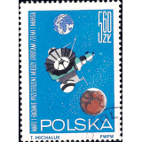 "POL Selo, 1964, (N), Yt:PL 1412, Research in Space, ""Mars 1"" between Mars and Earth."