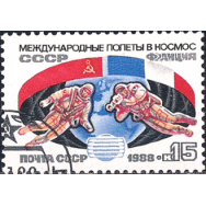 RUS Selo, 1988, (Mint), Yt:SU 5547, Mir Space Station and Soyuz-TM Spacecraft.