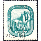 ROM Selo, 1955, (N), Yt:RO 1371, Forest Month, Farmer couple in costume planting trees.